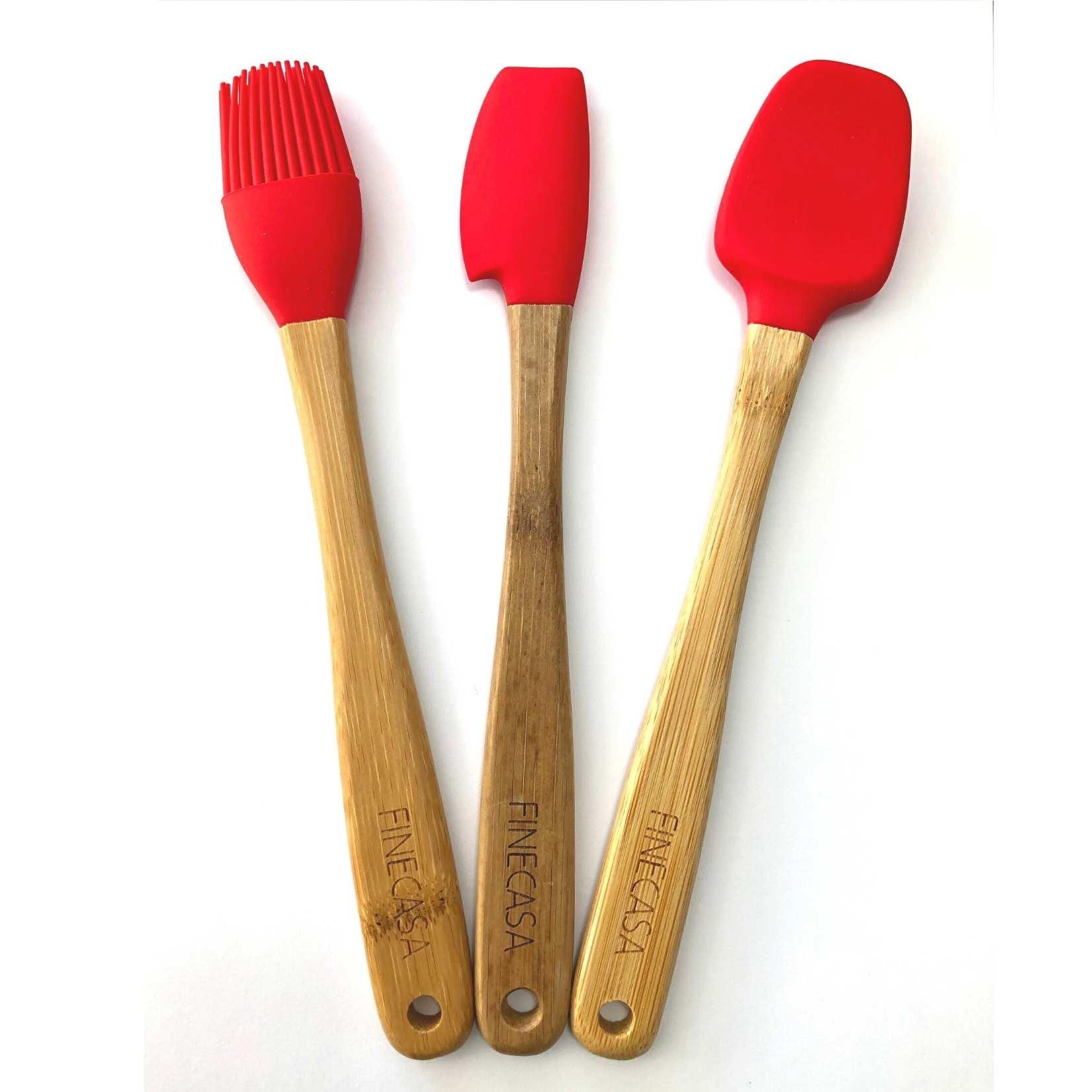 Kit c/3 Utensílios em Bambu e Silicone Pequenos Vermelho - Yoi