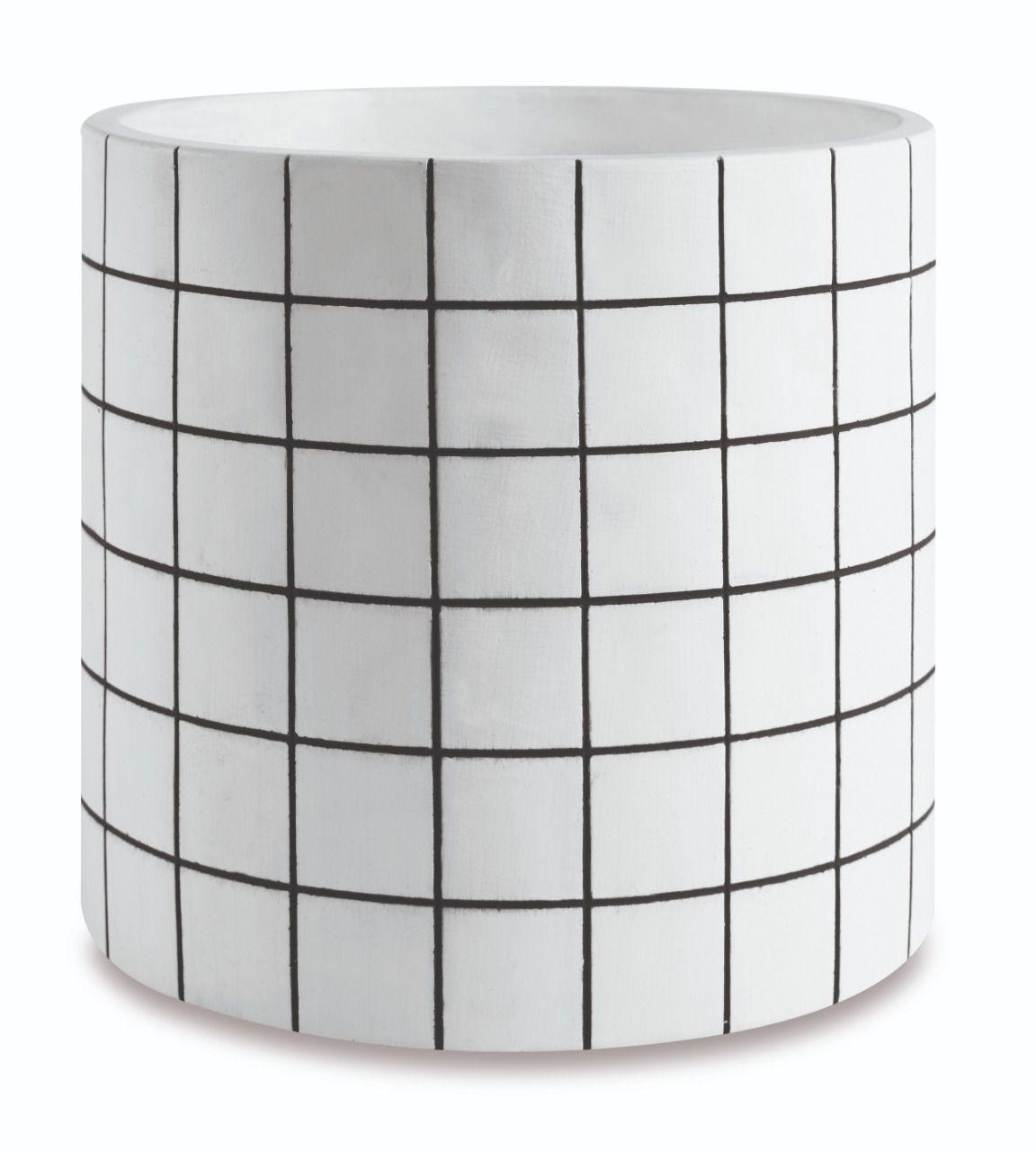 Kit c/3 Vasos Grid Branco e Preto Redondo - Mart