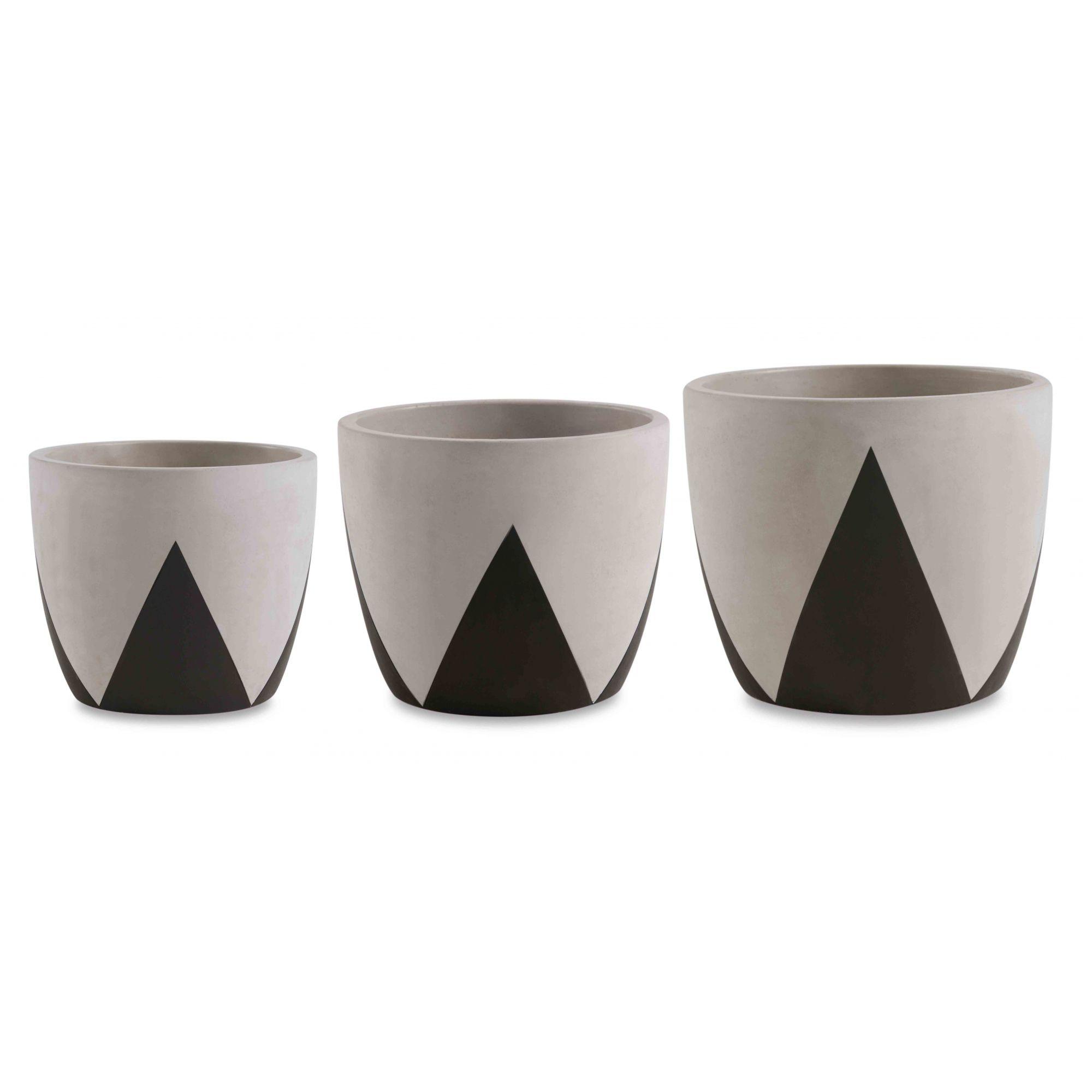 Kit c/3 Vasos em Concreto e Preto