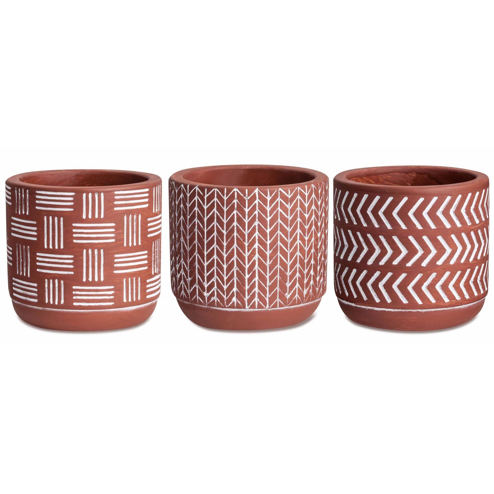 Kit c/3 Vasos em Concreto Terracota Tribal
