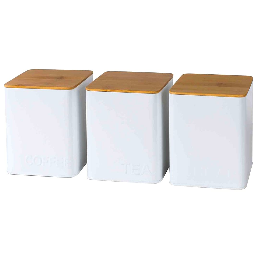 Kit c/5 Latas Quadradas Brancas Tampa Bambu