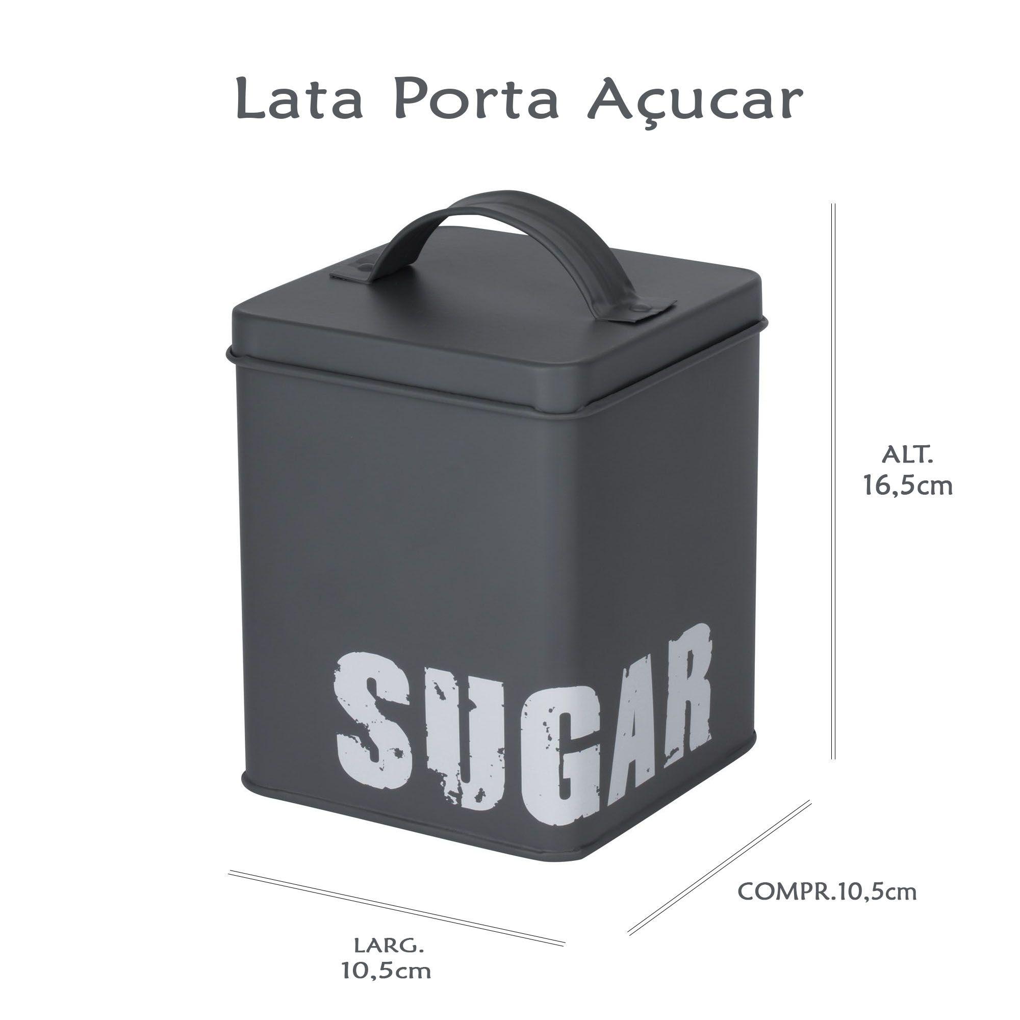 Kit Latas Porta Café e Açúcar Cinza
