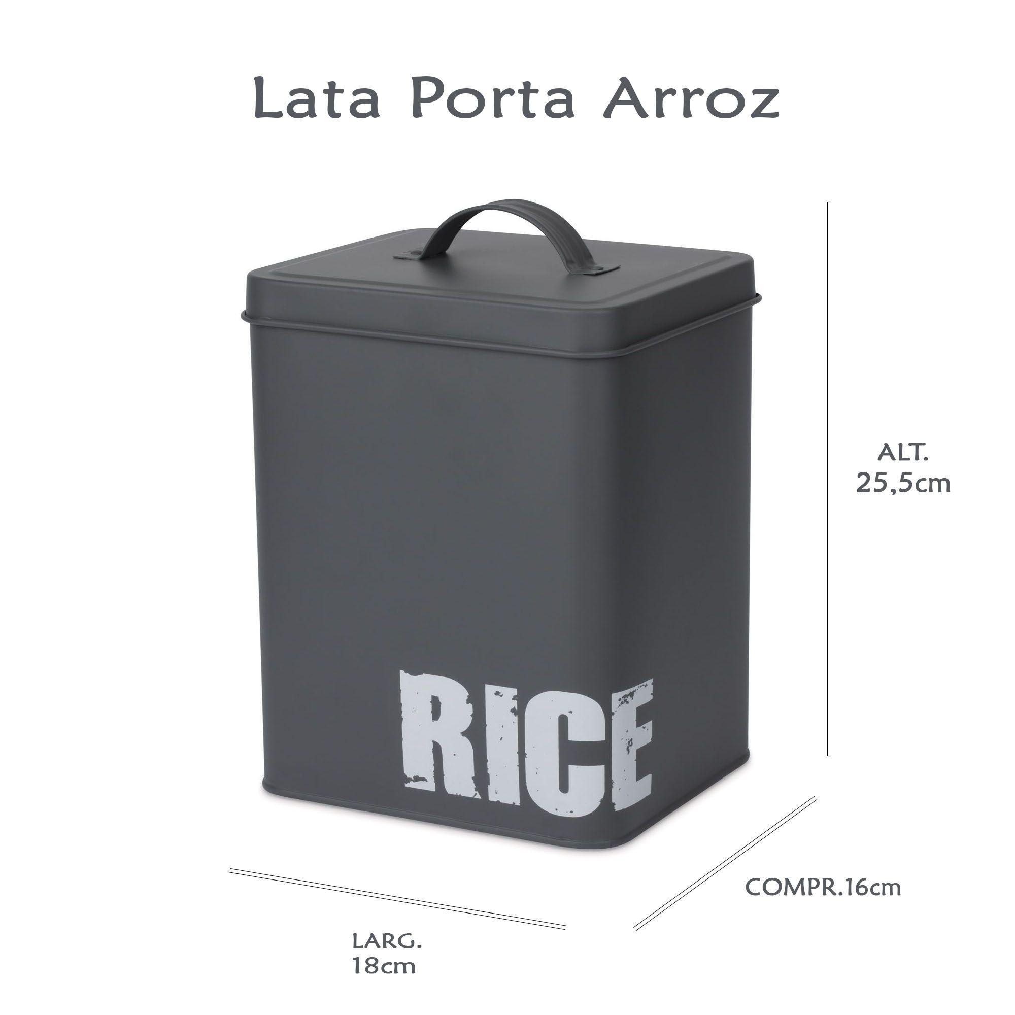 Lata Porta Arroz Cinza