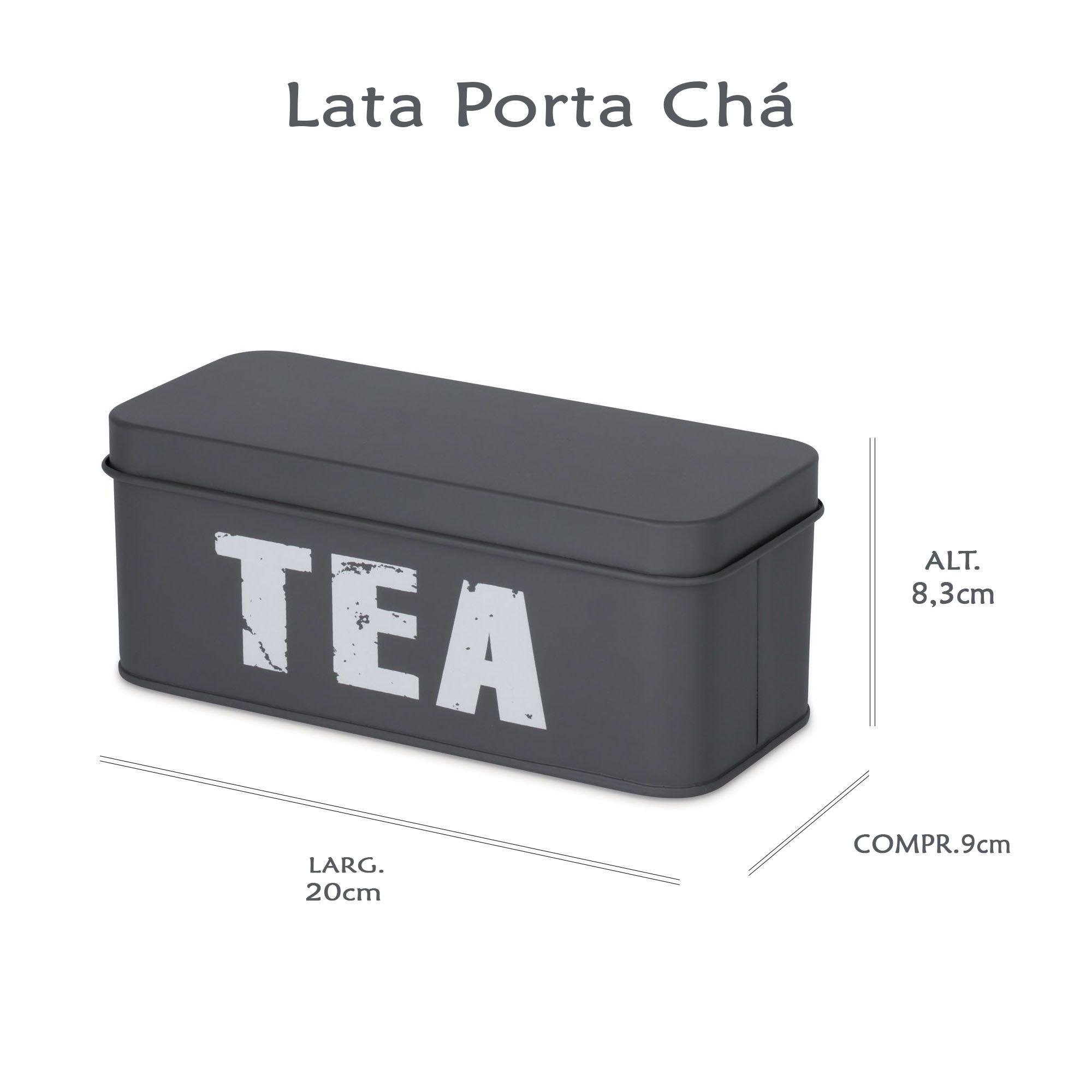Lata Porta Chá com Divisória Cinza