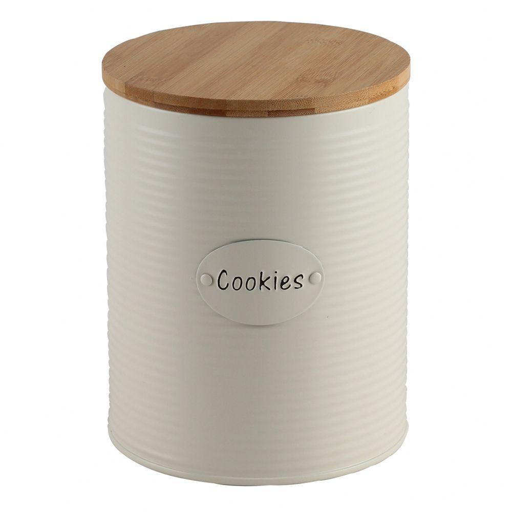 Lata Porta Mantimentos Cookies Branco Off e Bambu