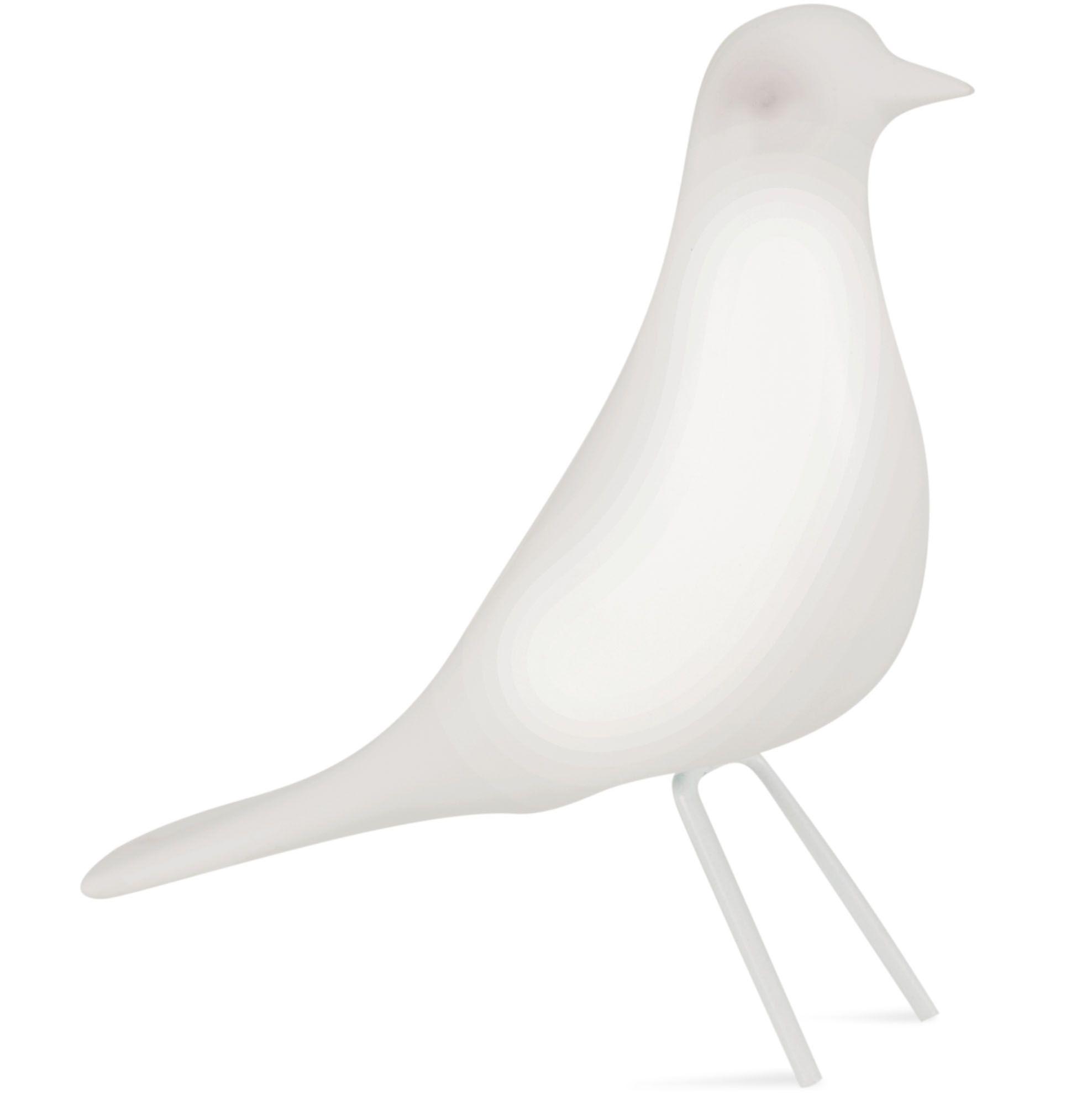 Pássaro em Cerâmica Branco Pé em Metal Grande