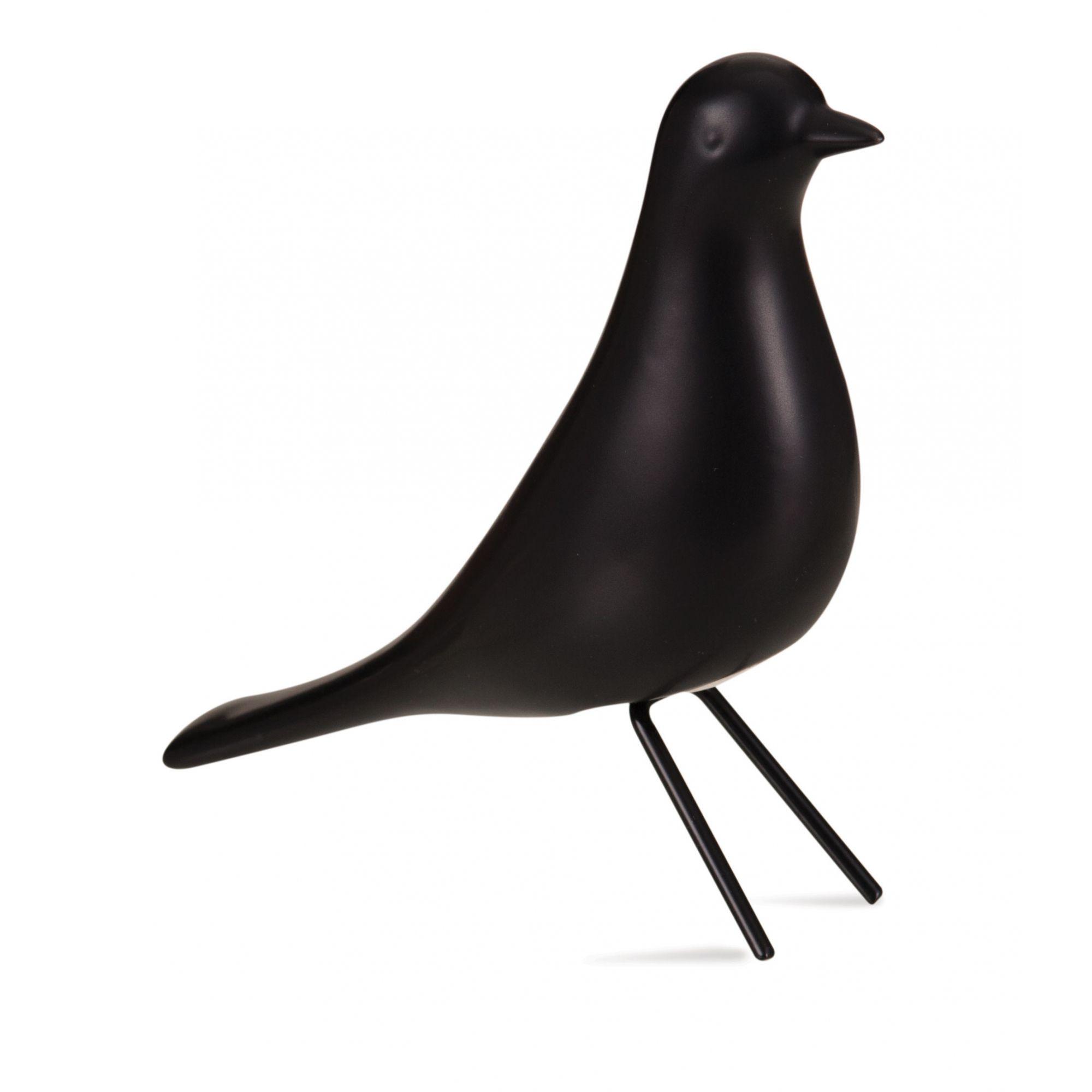 Pássaro Preto 15x5x14,5 cm em Cerâmica Pé em Metal