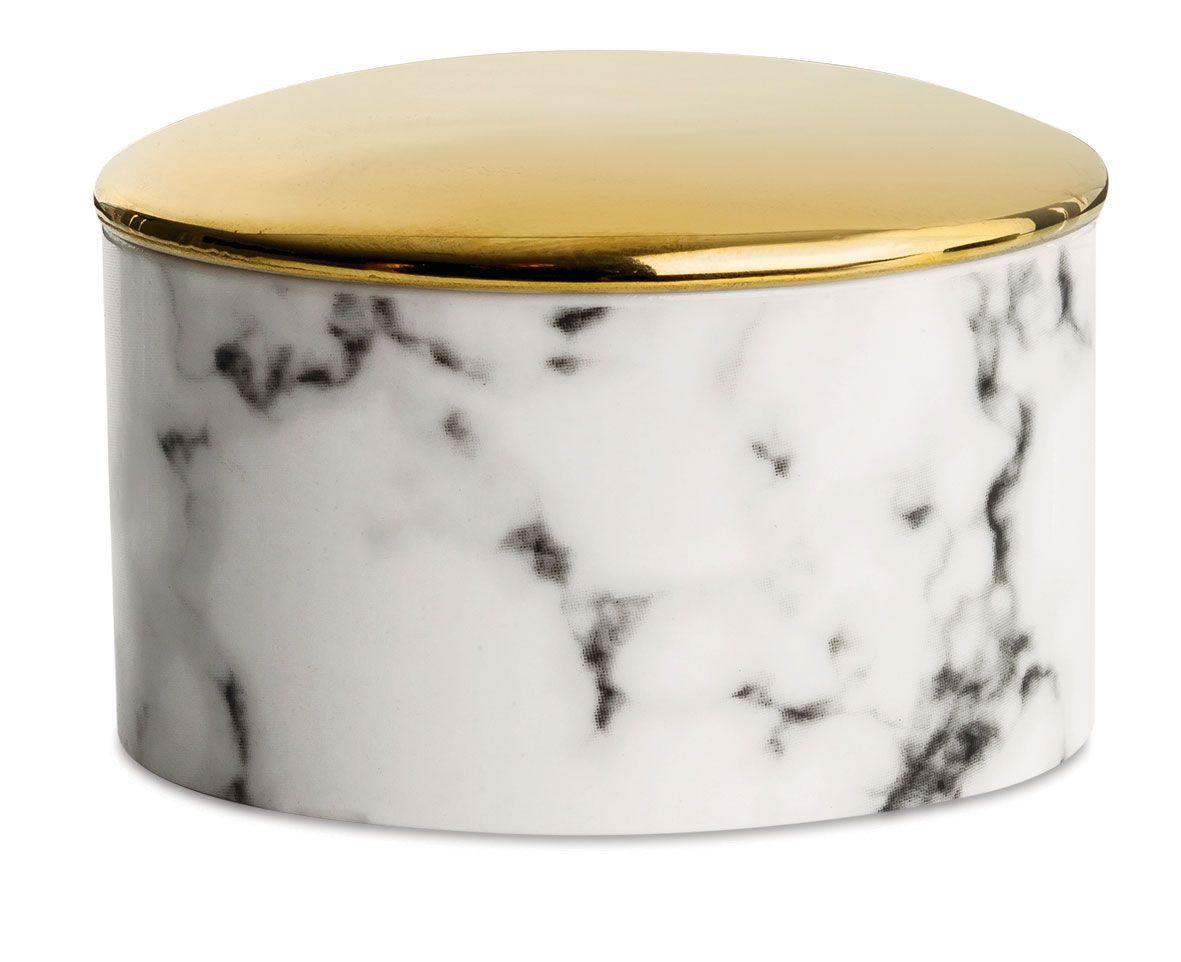 Porta Joias em Cerâmica Marmorizado e Dourado