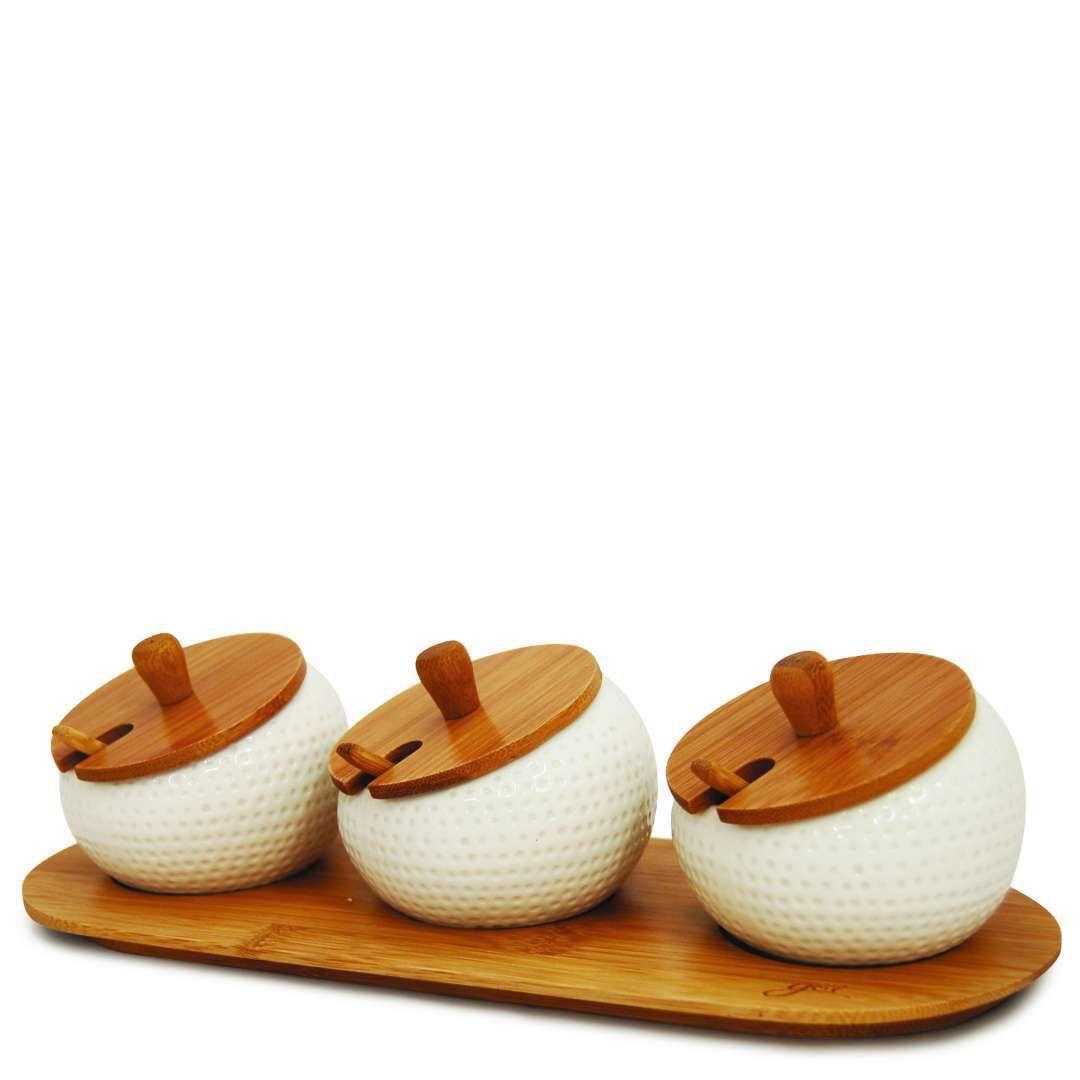 Porta Temperos 3 Potes em Cerâmica c/ Tampa e Colher em Bambu Tyft - Yoi