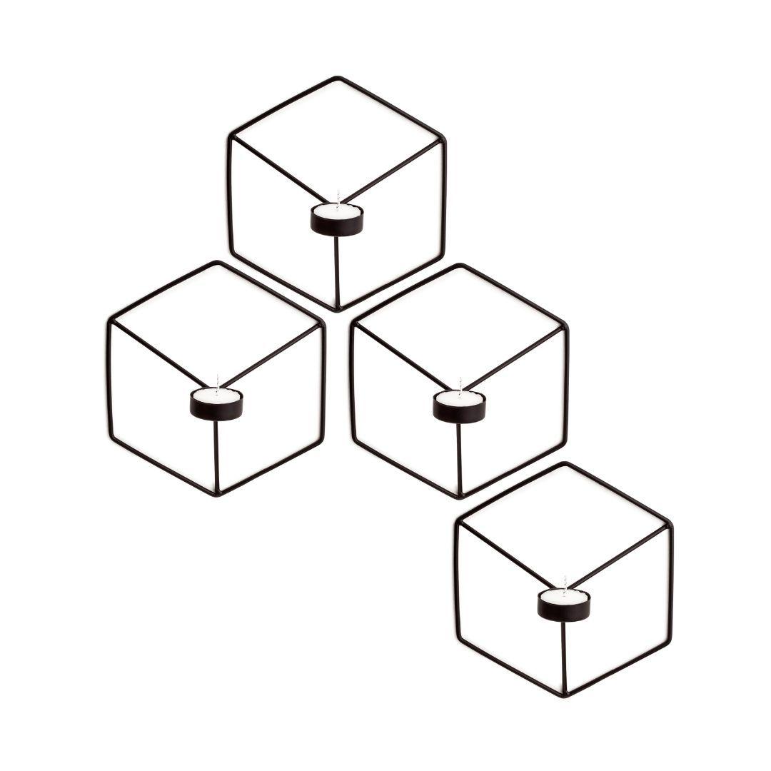 Jogo c/4 Porta Velas Geométrico para Parede