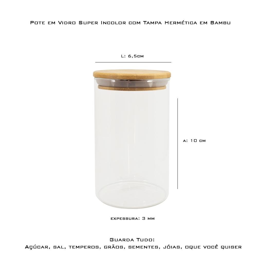 Pote de Vidro Hermético Tampa de Bambu 250 ml
