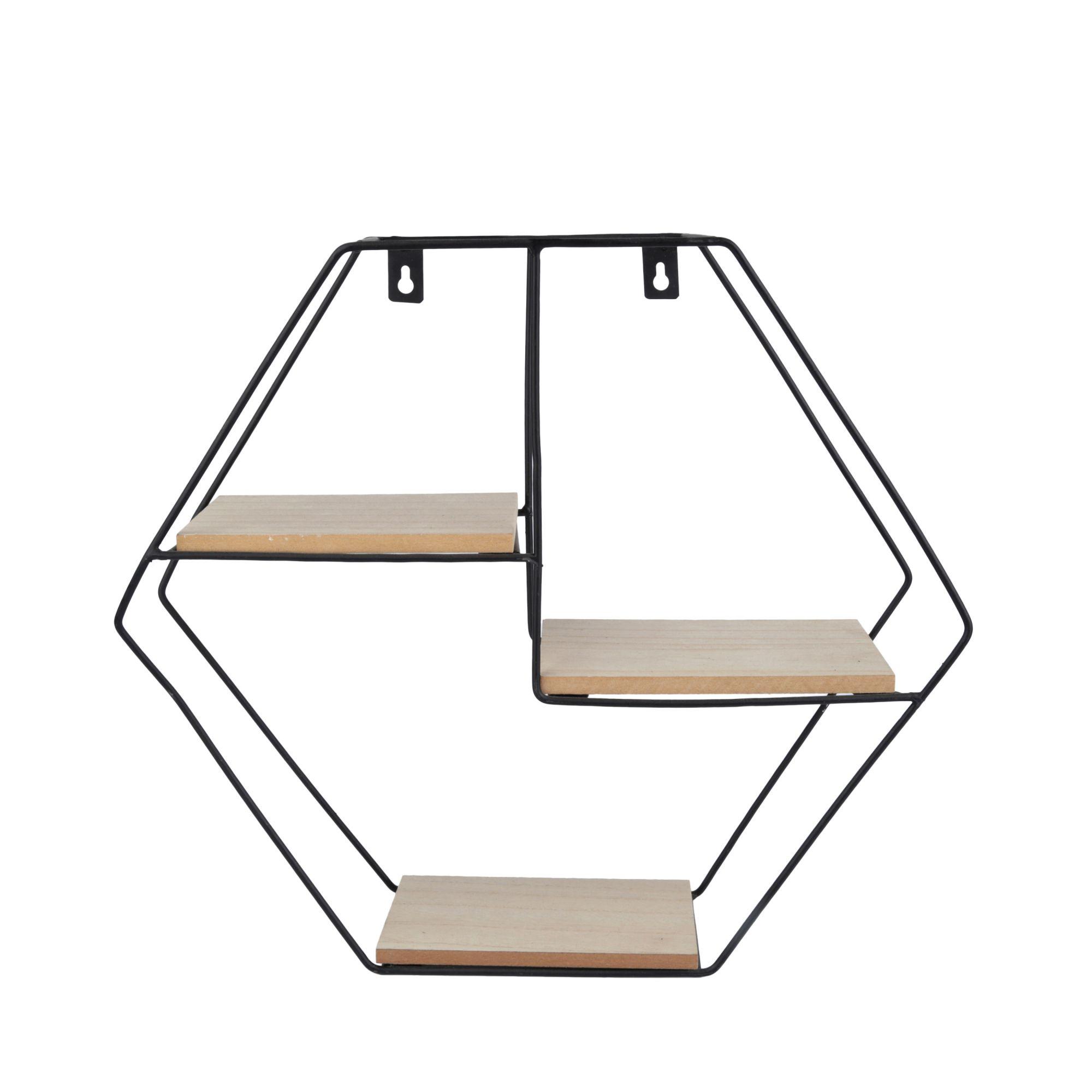 Prateleira Metal/Madeira Formas Geo Hexagonal Preto - Urban