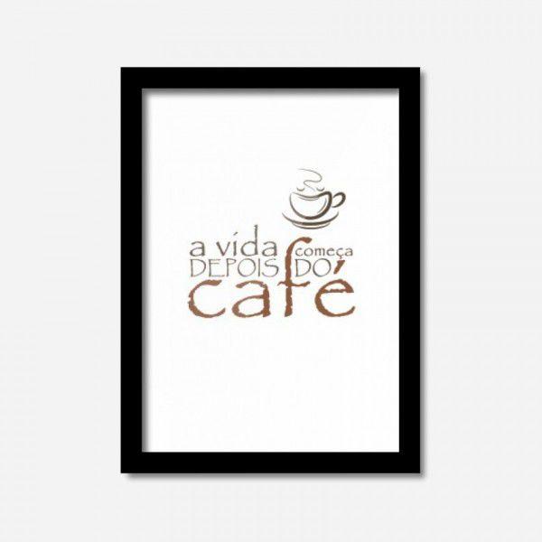 QUADRO CAFÉ 32,5 X 24 CM MOLDURA PRETA 2 cm