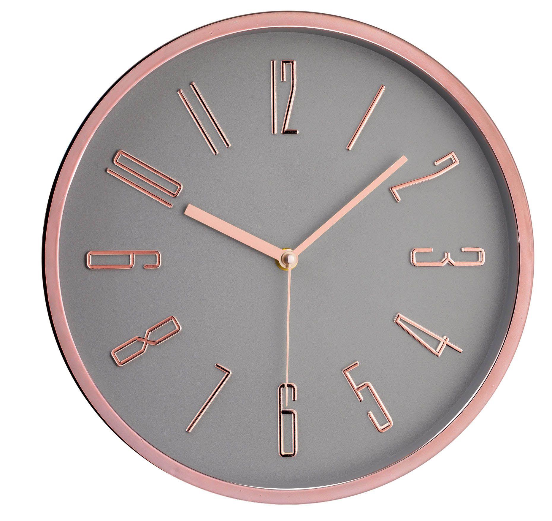 Relógio de Parede Cinza e Rosê Gold