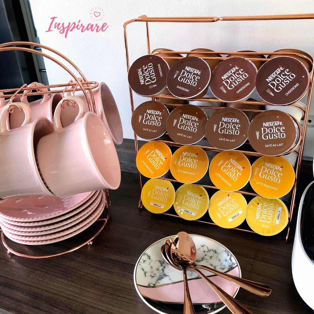 Suporte para Xícara de Chá Rosé Gold