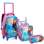 Kit Mochila Princess On Ice Com Rodinhas Lancheira Estojo