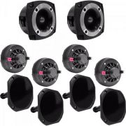 Kit Som Automotivo 120W RMS 8 OHMS 4 Drivers + 4 Cornetas Curtas + 2 Super Tweeters Orion