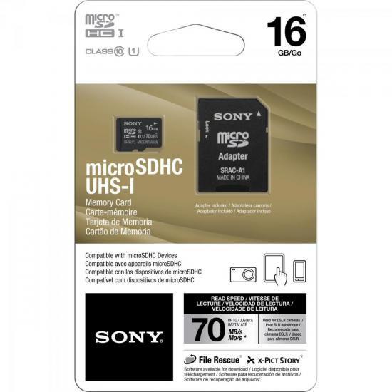 Cartao de Memoria 16GB Micro SDHC com Adaptador Classe 10 SR-16UY2 SONY