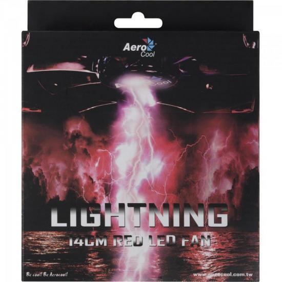 Cooler Fan Lightning Red Aerocool EN51370 Vermelho 14cm