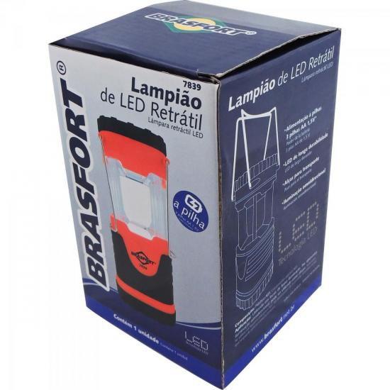 Lampiao Retratil LED VERMELHO/PRETO Brasfort