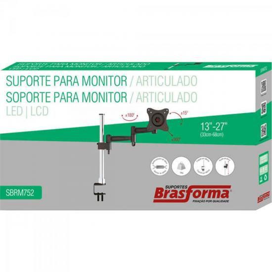 "Suporte Articulado para Monitor 13"" a 27"" SBRM752 PRETO/PRATA Brasforma"