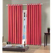 Cortina Em Voil Vermelha Com Forro Blackout 2,60 x 2,30 Bella Janela
