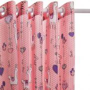 Cortina Infantil Com Corta Luz Lhamas Rosa 2,00 x 1,80 Santista