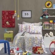 Jogo De Cama Solteiro Infantil Menino Game Cinza Santista
