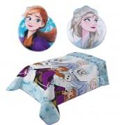 Kit Edredom Dupla Face Frozen + Almofadas Anna E Elsa Transfer Lepper