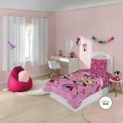 Kit Edredom + Fronha Infantil Minnie Menina Rosa Lepper