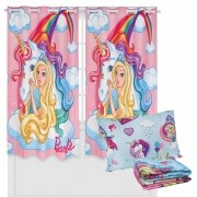 Kit Infantil Barbie Cortina + Jogo De Lençol 3 Peças Lepper