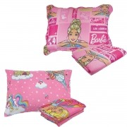 Kit Infantil Barbie Jogo De Cama + Colcha Dupla Face Rosa