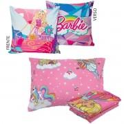 Kit Infantil Menina Manta Almofada E Jogo De Cama Barbie Rosa