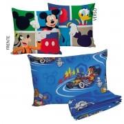 Kit Infantil Menino Manta Almofada E Jogo De Cama Mickey Azul