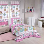 Kit Princesa Bela Power Cortina + Jogo Cama Santista
