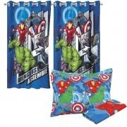 Kit Vingadores Avengers Jogo De Cama + Cortina Lepper