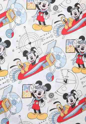 Kit Infantil Mickey Aviador Edredom + Jogo Cama + Cortina Santista