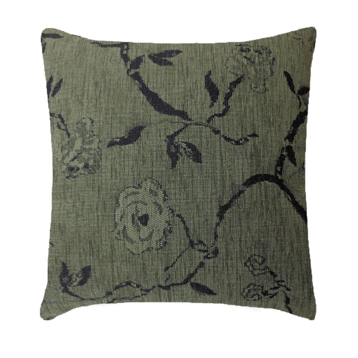 Capa Para Almofada Decorativa Tecido Chenille Verde Floral