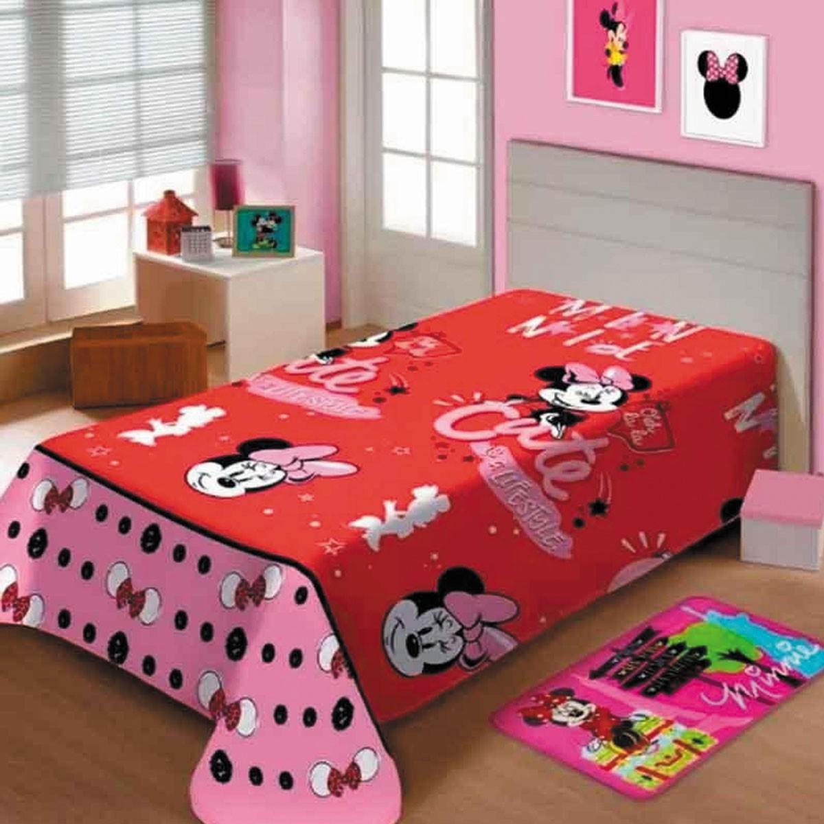 Cobertor Infantil Minnie Mouse Manta Fleece Vermelha Jolitex