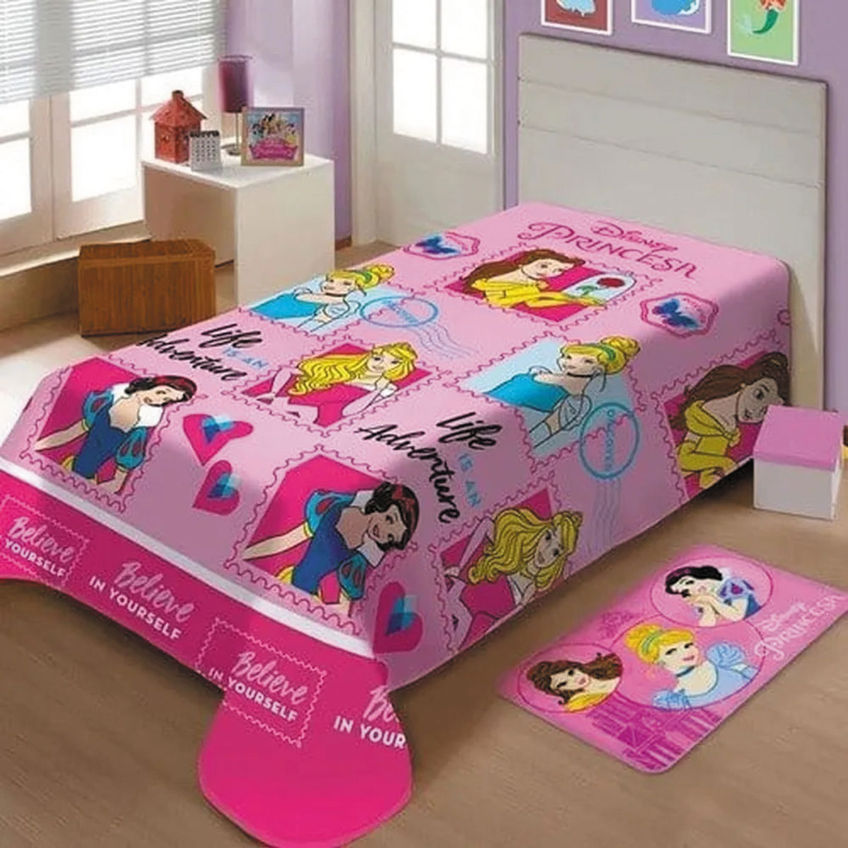 Cobertor Infantil Princesas Disney Manta Fleece Microfibra Soft Jolitex