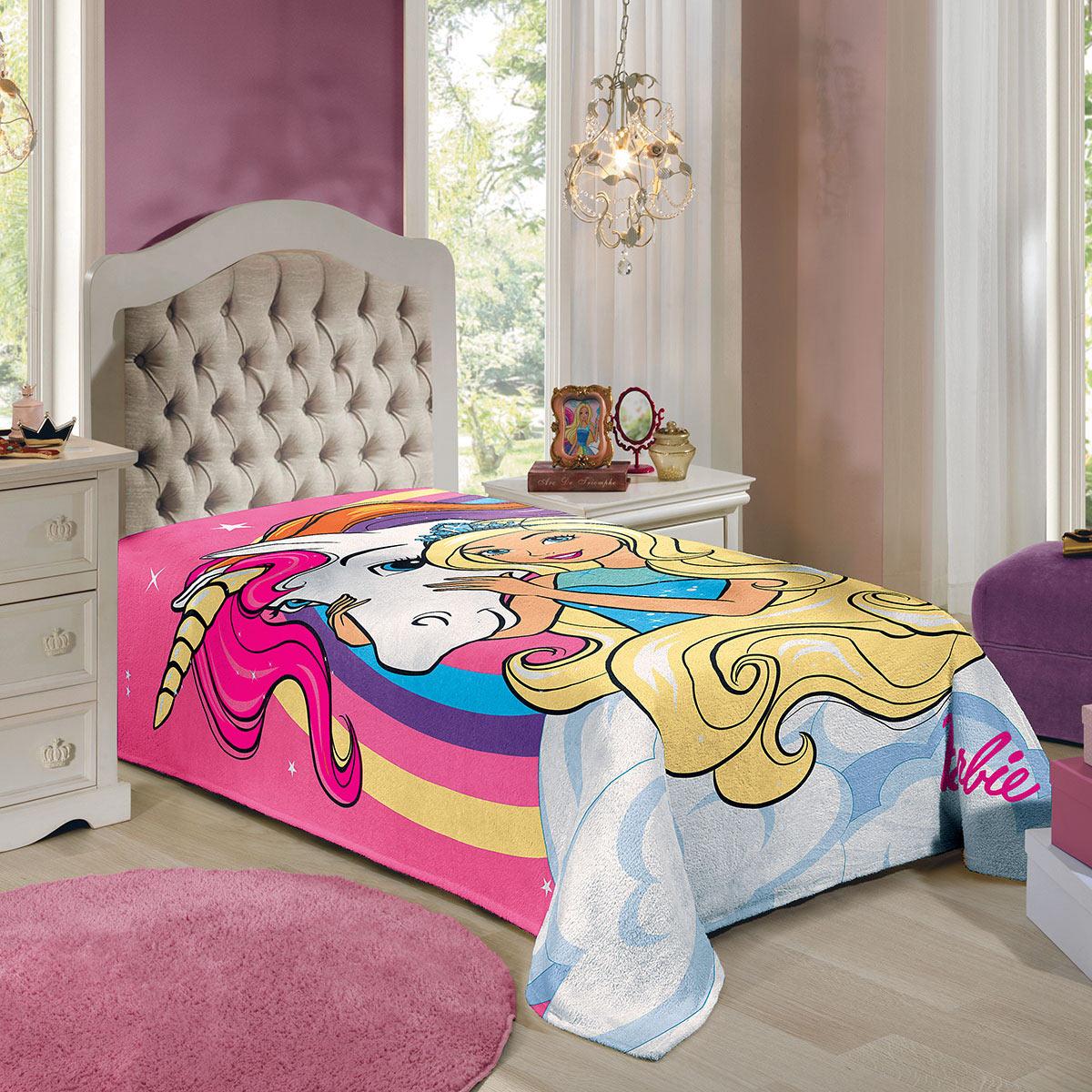 Cobertor Manta Fleece Infantil Barbie Reinos Mágicos Menina Lepper