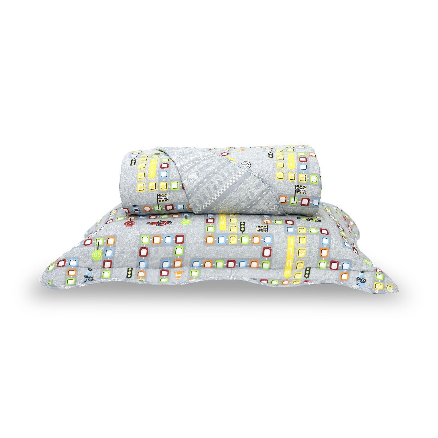 Colcha Boutis + Porta Travesseiro Infantil Game Santista