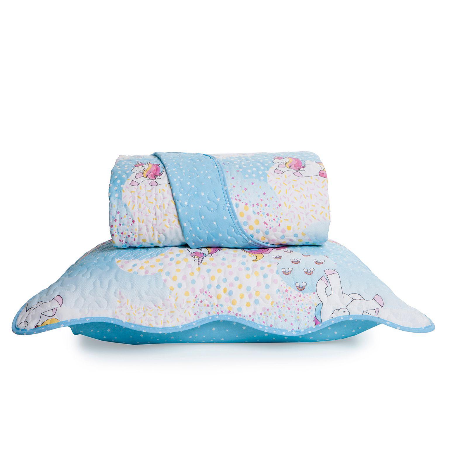 Colcha Boutis + Porta Travesseiro Infantil Magic Unicórnio Santista