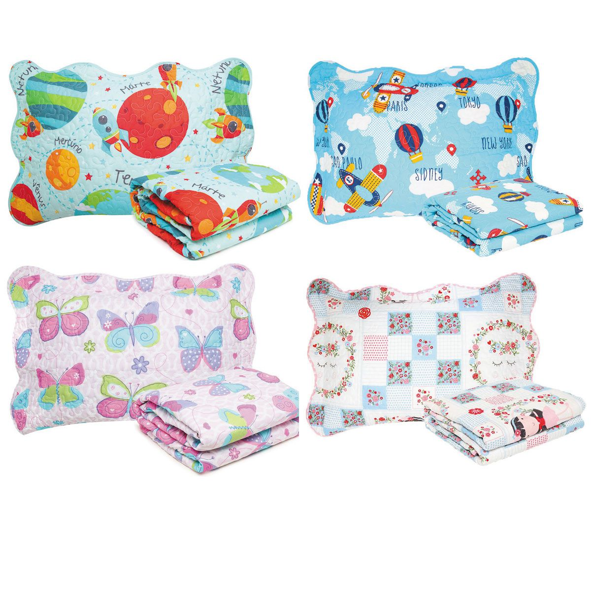 Colcha Boutis + Porta Travesseiro Infantil Menino E Menina Santista