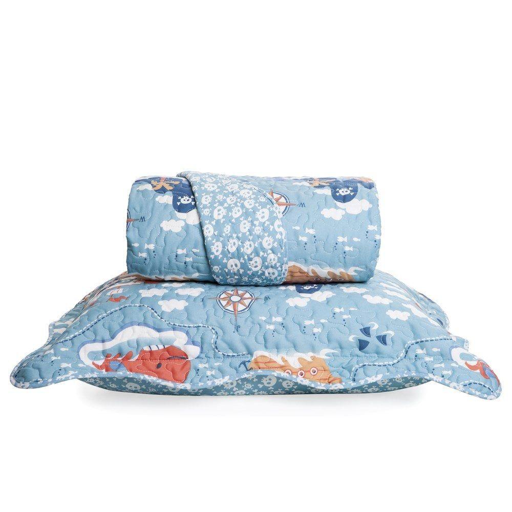 Colcha Boutis + Porta Travesseiro Infantil Pirata Santista