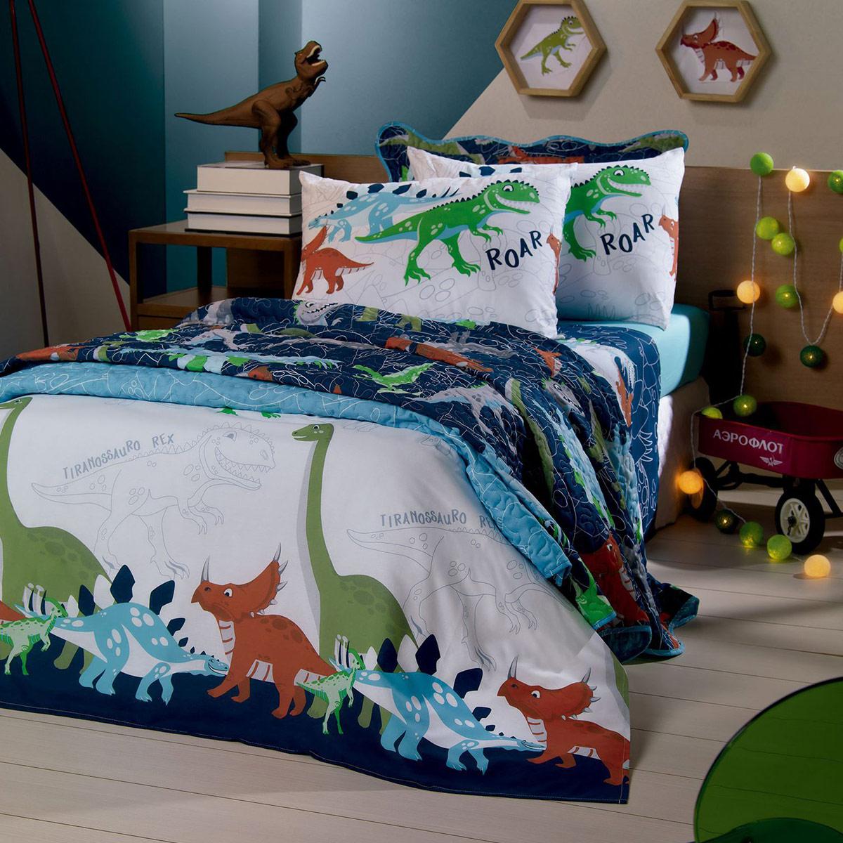 Colcha Infantil Menino Dinossauros Solteiro Boutis Sauros Azul Santista