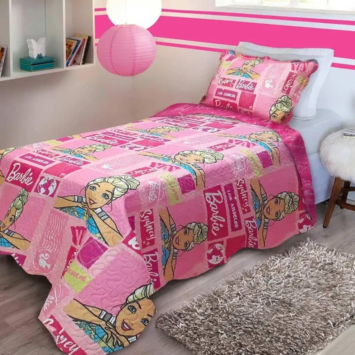 Colcha Infantil Barbie Menina Rosa Solteiro Ultrasonic Jolitex