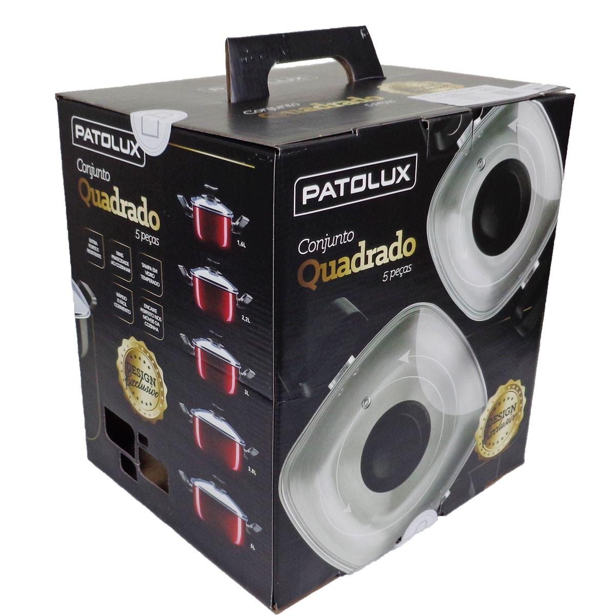Conjunto De Panelas Caçarola Quadrada Vermelha 5 Peças Patolux