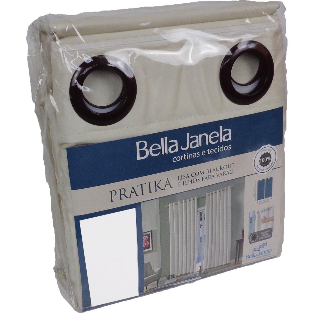 Cortina Blackout Areia Pratika Lisa Slim 2,60 X 1,70 Bella Janela