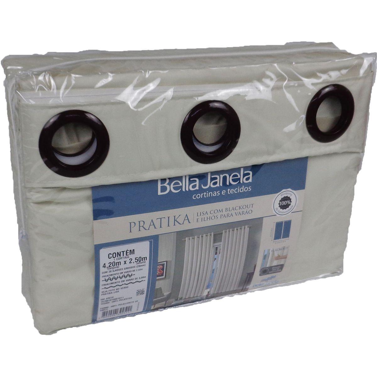 Cortina Blackout Areia Pratika Lisa Slim 4,20 X 2,50 Bella Janela